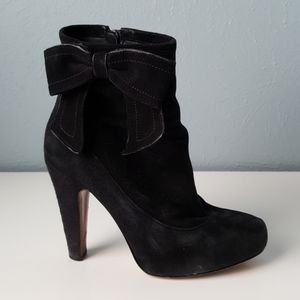 COACH Black Suede Leather Bow Boots High Heel 6.5